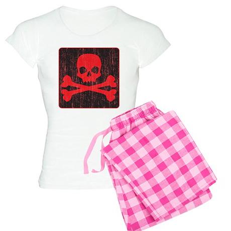 Red Pirate Skull Crossbones Women's Light Pajamas