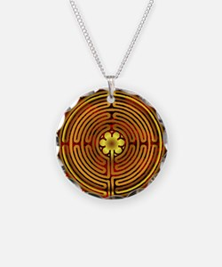 Chartres Labyrinth Fire Necklace Circle Charm