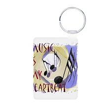 Music is My Heartbeat Aluminum Photo Keychain