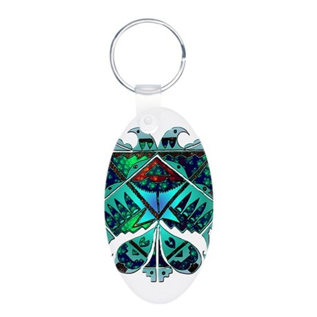 Two Eagles Aluminum Oval Keychain