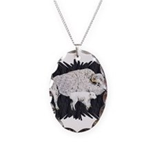 White Buffalo Necklace Oval Charm