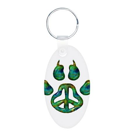Paw Peace Aluminum Oval Keychain