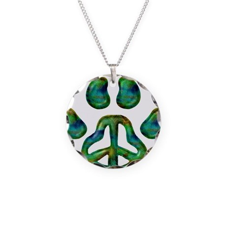 Paw Peace Necklace Circle Charm