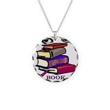 Book Woman Necklace Circle Charm