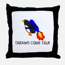 Fly penguin Throw Pillow