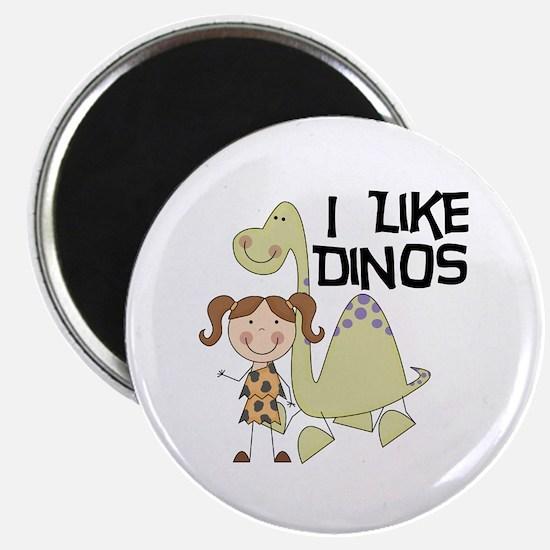 """Girl I Like Dinos 2.25"""" Magnet (100 pack)"""