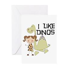 Girl I Like Dinos Greeting Card