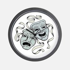 Vintage Comedy Tragedy Mask Wall Clock