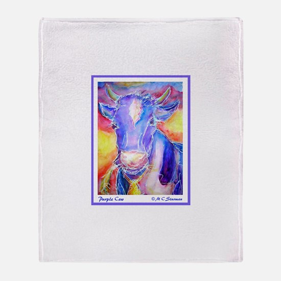 Cow! Purple cow art! Throw Blanket