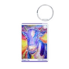 Cow! Purple cow art! Aluminum Photo Keychain