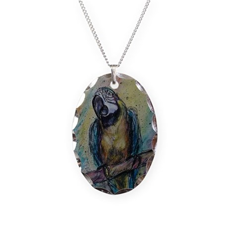 Blue & Gold Macaw, Necklace Oval Charm