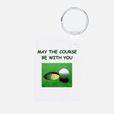 i love golf Keychains