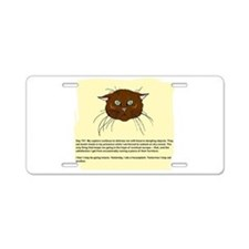 The Cat's Diary Aluminum License Plate