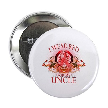 """I Wear Red For My Uncle (floral) 2.25"""" Button (10"""