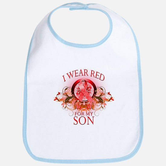 I Wear Red For My Son (floral) Bib