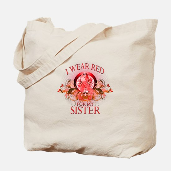 I Wear Red For My Sister (floral) Tote Bag