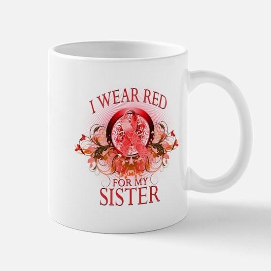 I Wear Red For My Sister (floral) Mug