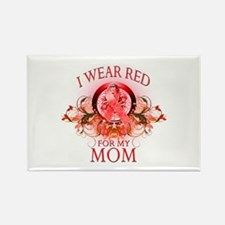 I Wear Red For My Mom (floral) Rectangle Magnet