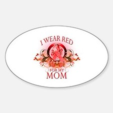 I Wear Red For My Mom (floral) Sticker (Oval)