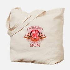 I Wear Red For My Mom (floral) Tote Bag