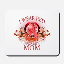 I Wear Red For My Mom (floral) Mousepad