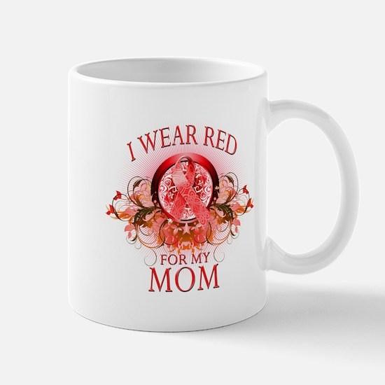 I Wear Red For My Mom (floral) Mug