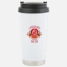I Wear Red For My Mom (floral) Stainless Steel Tra