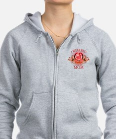 I Wear Red For My Mom (floral) Zip Hoodie