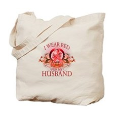 I Wear Red For My Husband (floral) Tote Bag