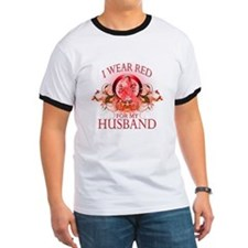 I Wear Red For My Husband (floral) T