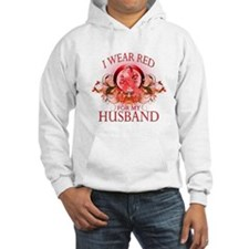 I Wear Red For My Husband (floral) Hoodie