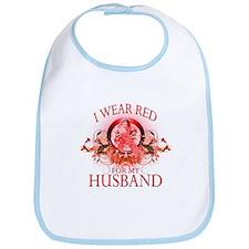 I Wear Red For My Husband (floral) Bib
