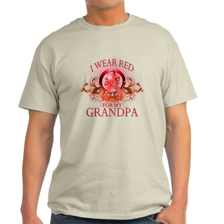 I Wear Red For My Grandpa (floral) Light T-Shirt