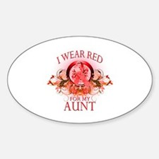 I Wear Red For My Aunt (floral) Sticker (Oval)