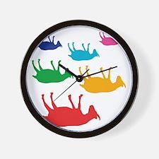 Fainting Goats Rainbow Wall Clock