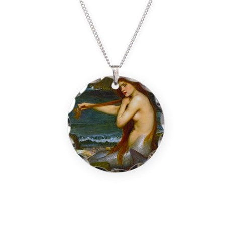Red Haired Mermaid Necklace Circle Charm