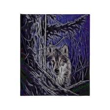 Night Warrior Wolf Dark Throw Blanket