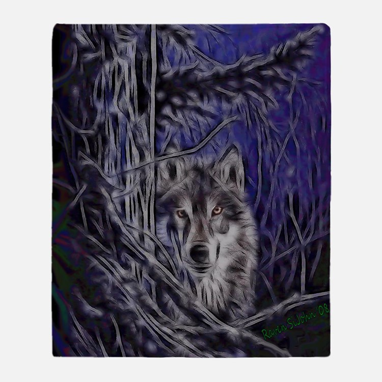 Night Warrior Wolf Dark Throw Blanket