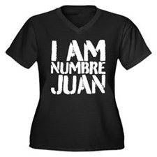 Cute W0 Women's Plus Size V-Neck Dark T-Shirt