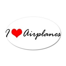 I Heart Airplanes 22x14 Oval Wall Peel