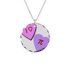 I Heart Pi Necklace Circle Charm