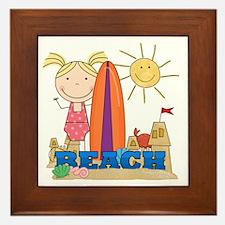 Blond Girl at Beach Framed Tile