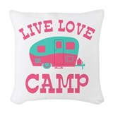 Happy camper Woven Pillows