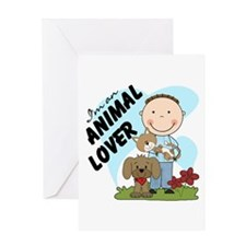 Stick Figure Boy Animal Lover Greeting Card