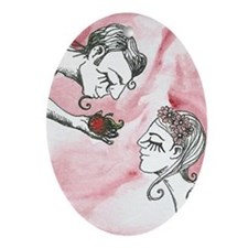 Temptation and Eve Oval Ornament