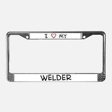 I Love Welder License Plate Frame