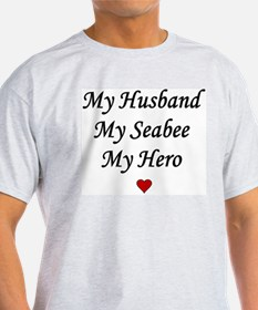My Husband Seabee Hero - Navy Ash Grey T-Shirt