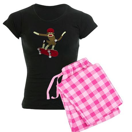 Sock Monkey Skateboarder Women's Dark Pajamas