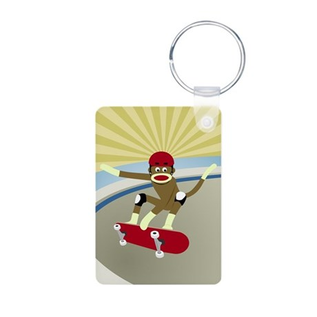 Sock Monkey Skateboarder Aluminum Photo Keychain