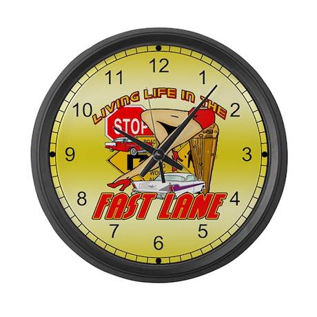 Vintage Fast Lane Large Wall Clock